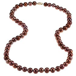DaVonna 14k Gold Chocolate FW Pearl 24-inch Necklace (9-10 mm)