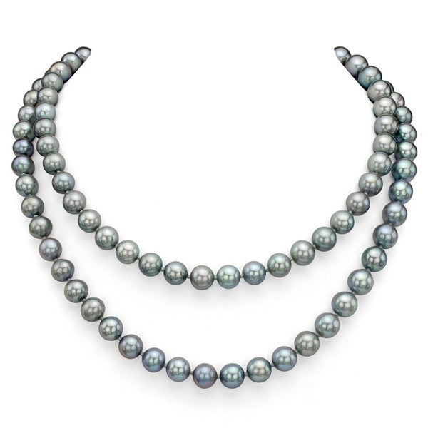 DaVonna Round Grey FW Pearl 48-inch Endless Necklace (9-10mm)