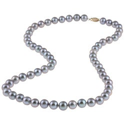 DaVonna 14k Gold Grey FW Pearl 24-inch Necklace (9-10 mm)
