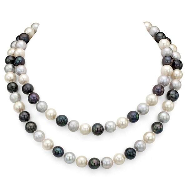 DaVonna Round Multi Dark FW Pearl 48-inch Endless Necklace (9-10mm)