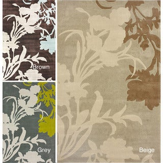 nuLOOM Handmade Pino Emblem Floral Rug (7'6 x 9'6)