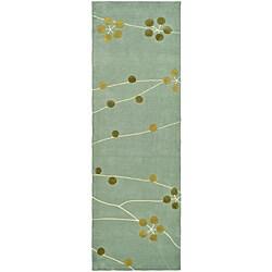 Safavieh Handmade Soho Blue New Zealand Wool Runner (2'6 x 8')