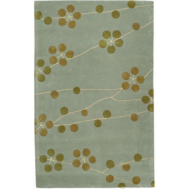 Safavieh Contemporary Handmade Soho Blue New Zealand Wool Rug (5' x 8')