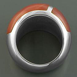 Stainless Steel Burnt Sienna Enamel Ring (Italy)