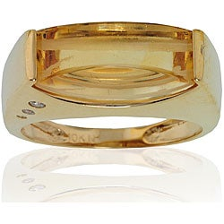 Michael Valitutti 10k Yellow Gold Citrine and Diamond Accent Ring