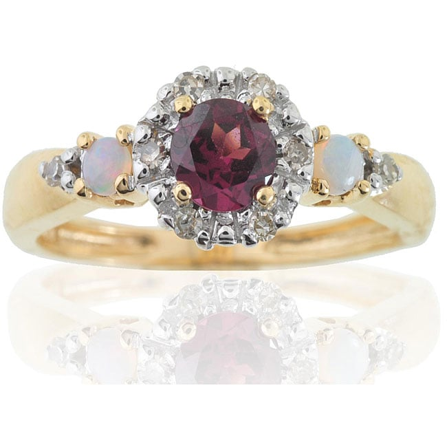 Michael Valitutti 14k Gold Rhodololite Opal and 1/10ct TDW Diamond Ring (I-J, I1-I2)