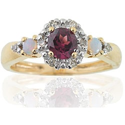 Michael Valitutti 14k Gold Rhodololite Opal and 1/10ct TDW Diamond Ring (I-J, I1-I2)