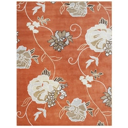 Hand-tufted Classic Flower Rust Wool Rug (5' x 8')