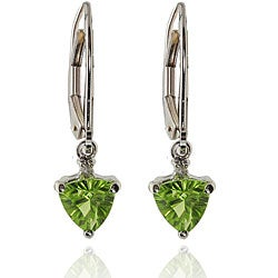 Michael Valitutti 14k White Gold Peridot and Diamond Earrings