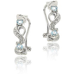 Glitzy Rocks Sterling Silver Blue Topaz and Diamond Half-hoop Earrings