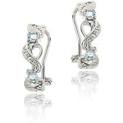 Glitzy Rocks Sterling Silver Blue Topaz and Diamond Half-hoop Earrings