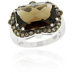 Glitzy Rocks Sterling Silver Smokey Quartz and 1/3ct TDW Champagne Diamond Ring
