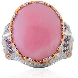 Michael Valitutti Two-tone Sterling Silver Pink Opal and Sapphire Ring