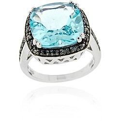 Glitzy Rocks Sterling Silver Blue Topaz and 1/6ct TDW Black Diamond Ring