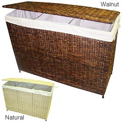 America Basket Company Woven Maize/Metal Three-Section Lined Hamper