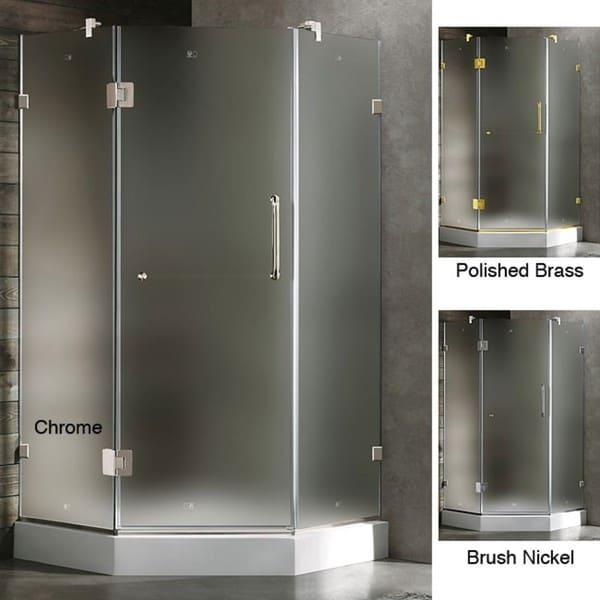 Vigo Frameless Neo-angle Frosted/ White Base Shower Enclosure (38 x 38)