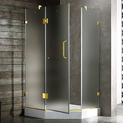 Vigo Frameless Neo-angle Frosted/ White Base Shower Enclosure (40 x 40)