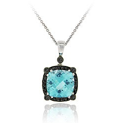 Glitzy Rocks Sterling Silver Blue Topaz and 1/4ct TDW Black Diamond Necklace