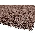 Hand-woven Premium Shaggy Brown Cotton Rug (4' Round)