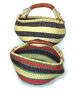 Set of 3 Straw Traditional Tribal Baskets (Ghana)