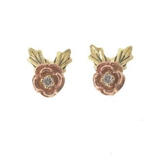 Black Hills Gold Diamond Rose Earrings