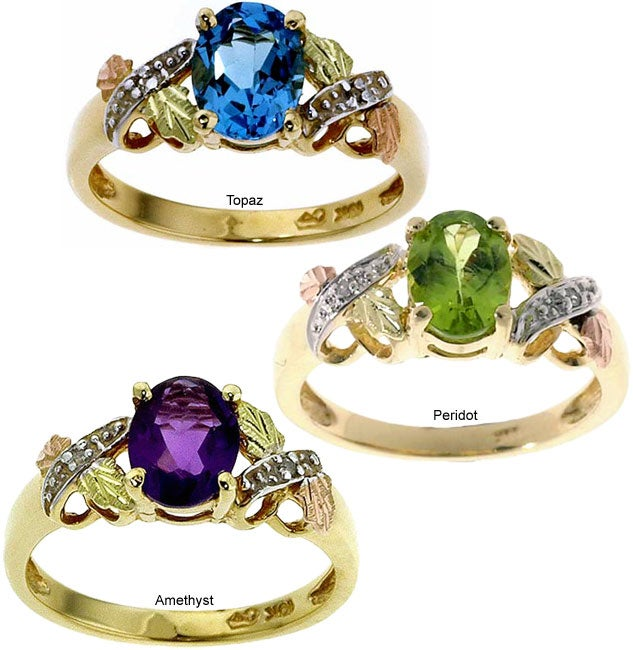 Black Hills Gold Peridot Diamond Ring