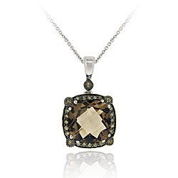 Glitzy Rocks Sterling Silver Smokey Quartz and 1/4ct TDW Champagne Diamond Necklace