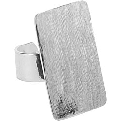 Amate Studios Silver-overlay Flat Rectangular Ring Base