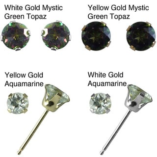 10k White Gold Round Gemstone Stud Earrings