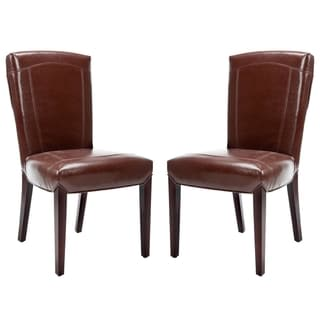 Safavieh Bowery Brown Marbled Leather Side Chair (Set of 2)