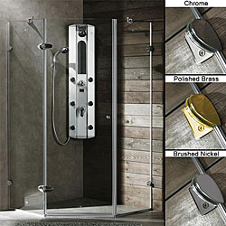 VIGO Frameless Neo-Angle 3/8-inch Clear Shower Enclosure