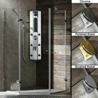 VIGO Frameless Neo-Angle 3/8-inch Clear Shower Enclosure