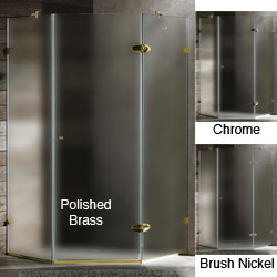 VIGO Frameless Sturdy Neo-Angle 3/8-Inch Frosted Shower Enclosure