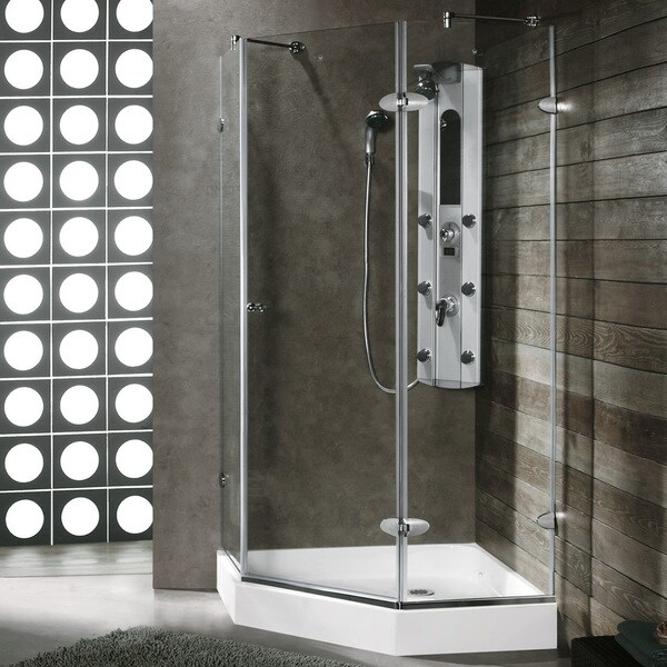 VIGO Frameless Self-Closing Neo-Angle 3/8-Inch Clear Shower Enclosure with White Base