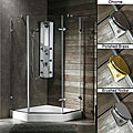 VIGO Frameless Neo-Angle 3/8-Inch Clear Glass Shower Enclosure with White Base