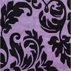 Alliyah Handmade Purple New Zealand Blend Wool Rug Wool Rug (6' Square)