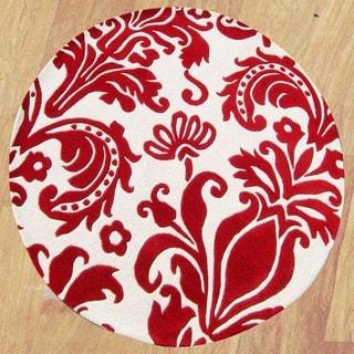 Alliyah Handmade Red New Zealand Blend Wool Rug (6' Round)