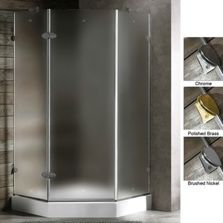 VIGO 40 x 40 Frameless Neo-Angle 3/8-inch Frosted Shower Enclosure with White Base