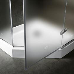 VIGO 42 x 42 Frameless Neo-Angle 3/8-inch Frosted Shower Enclosure with White Base