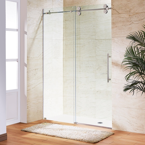 Vigo 48-inch Clear Glass Frameless Sliding Shower Door