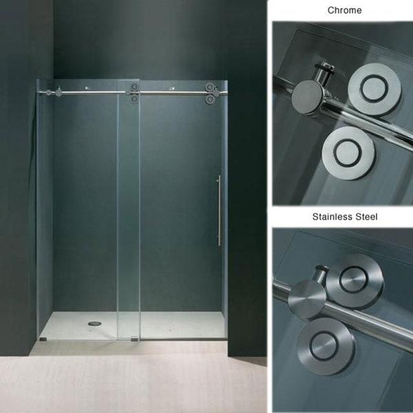 Vigo 72 inch frameless shower door 3 8 sliding shower for Discount frameless shower doors