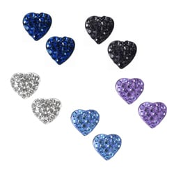 Sterling Silver Ferido Crystal Heart-shaped Stud Earrings (6 mm)