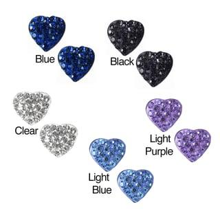 Sterling Silver Ferido Crystal Heart-shaped Stud Earrings (6 mm)