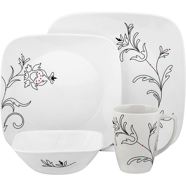 Corelle 'Royal Lines' Square 16-piece Dinnerware Set