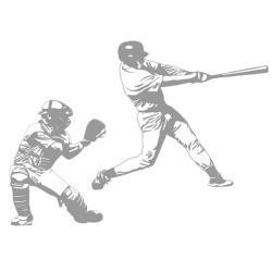 Baseball Grand Slam and Catcher Sudden Shadows Wall Decal