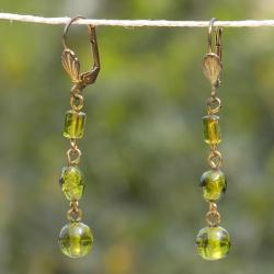 Handmade Brass and Olive Glass Bead Earrings (India)