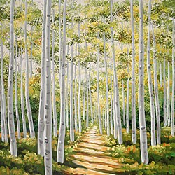 'Tree Lined Path' Hand-painted Canvas Art