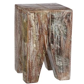 Stripped Wood Geometric Table (India)