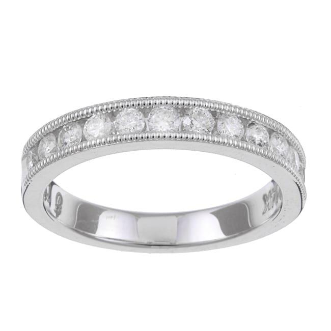 14k White Gold 1/2ct TDW Diamond Miligrain Wedding Band (H-I, I1-I2)