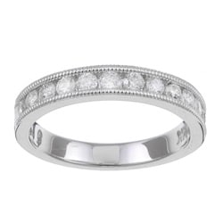 14k White Gold 1/2ct TDW Diamond Miligrain Wedding Band (H-I, I1-I2)